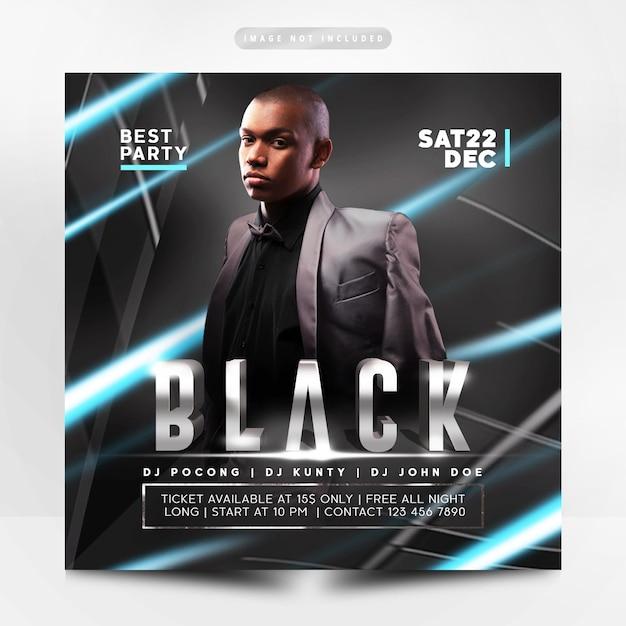 Prime flyer party noir PSD Premium