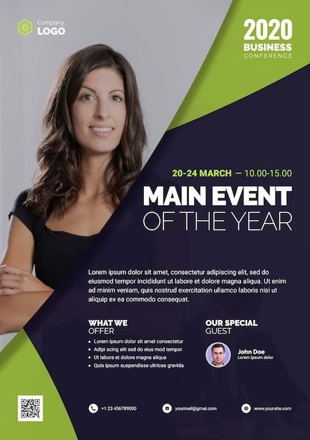 Principal événement de l'année avec une femme d'affaires Psd gratuit