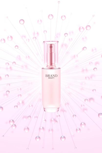 Produit De Beauté Aux Bulles D'eau Rose PSD Premium