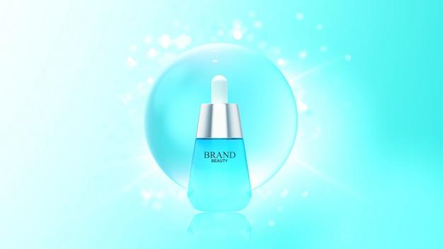 Produit De Beauté Avec Bulle D'eau Bleue PSD Premium