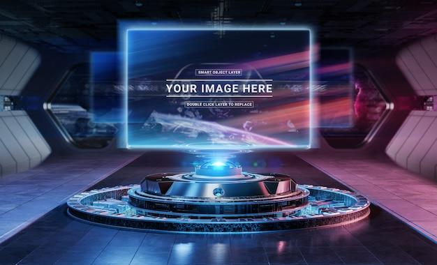 Projecteur de panneau d'affichage moderne dans une maquette intérieure futuriste PSD Premium