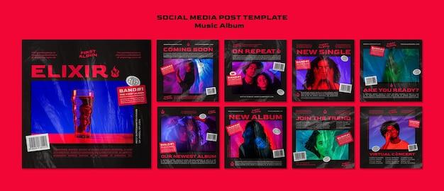 Publication D'un Album De Musique Sur Les Réseaux Sociaux PSD Premium