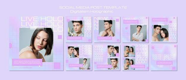 Publication Holographique Des Médias Sociaux Sur Le Digital PSD Premium