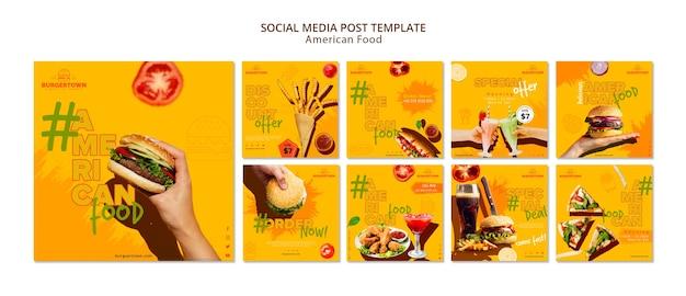 Publication De Médias Sociaux Sur La Cuisine Américaine Psd gratuit