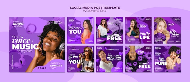 Publication Sur Les Médias Sociaux Avec L'événement De La Journée De La Femme Psd gratuit