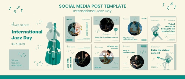 Publication Sur Les Médias Sociaux De La Journée Internationale Du Jazz Psd gratuit