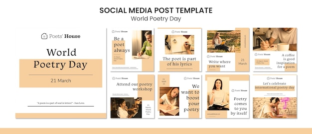 Publication Sur Les Médias Sociaux De La Journée Mondiale De La Poésie PSD Premium