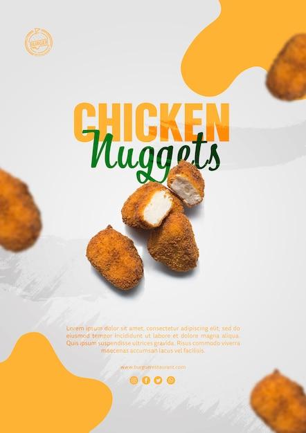 Publicité de pépites de poulet Psd gratuit