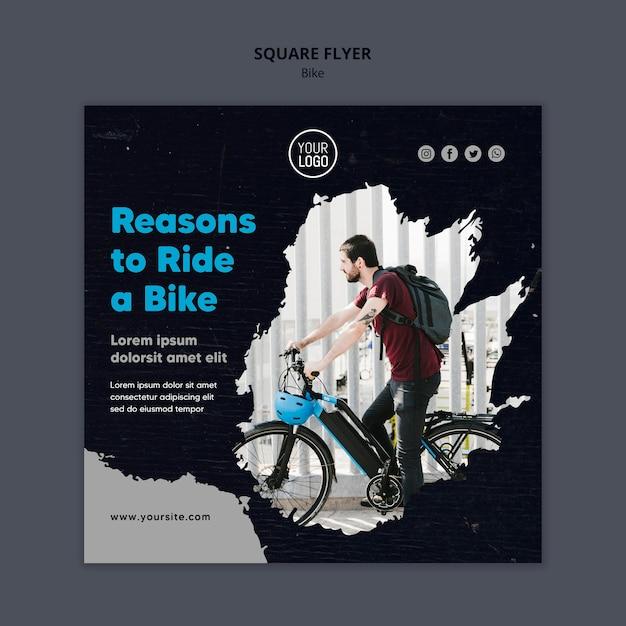 Raisons De Monter Un Flyer Carré De Modèle De Vélo Psd gratuit