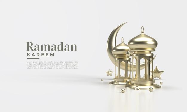 Ramadan Kareem 3d Render Avec Illustration De La Lampe Et De La Lune PSD Premium