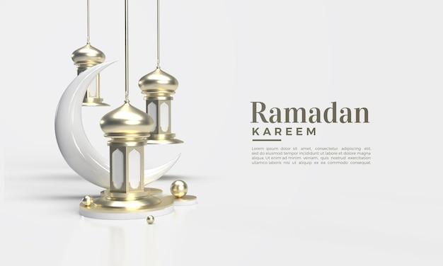 Ramadan Kareem Rendu 3d Avec Lustre Classique Et Croissant De Lune PSD Premium