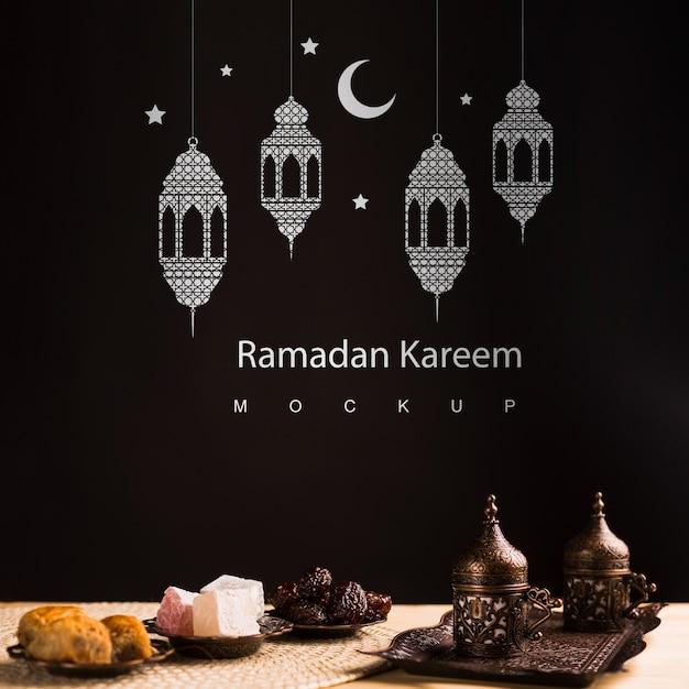 Ramadan nature morte avec fond Psd gratuit