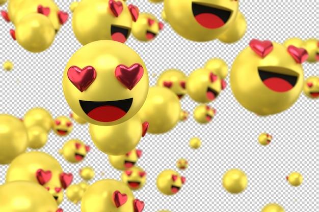 Les Réactions De Facebook Adorent Le Rendu 3d D'emoji Sur Un Symbole De Ballon De Médias Sociaux Transparent Avec Coeur PSD Premium
