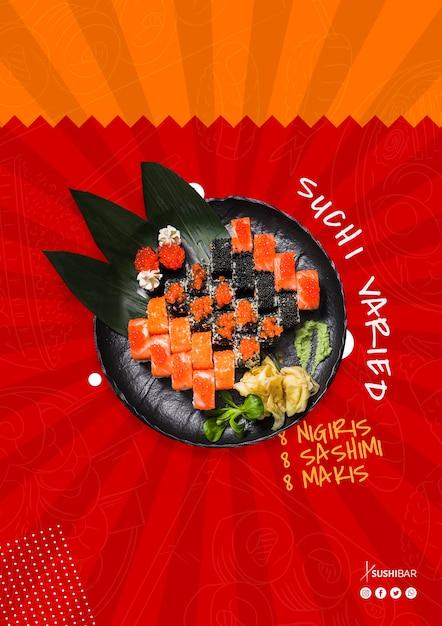 Recette Variée De Sushi Avec Du Poisson Cru Pour Un Restaurant Japonais Asiatique Psd gratuit