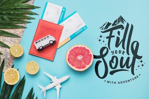 Remplissez votre âme, citation de motivation pour le concept de voyage de vacances Psd gratuit