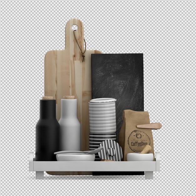Rendu 3d d'accessoires de cuisine isométrique PSD Premium