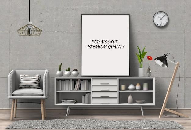 Rendu 3d de l'affiche vierge de la salle de séjour. PSD Premium