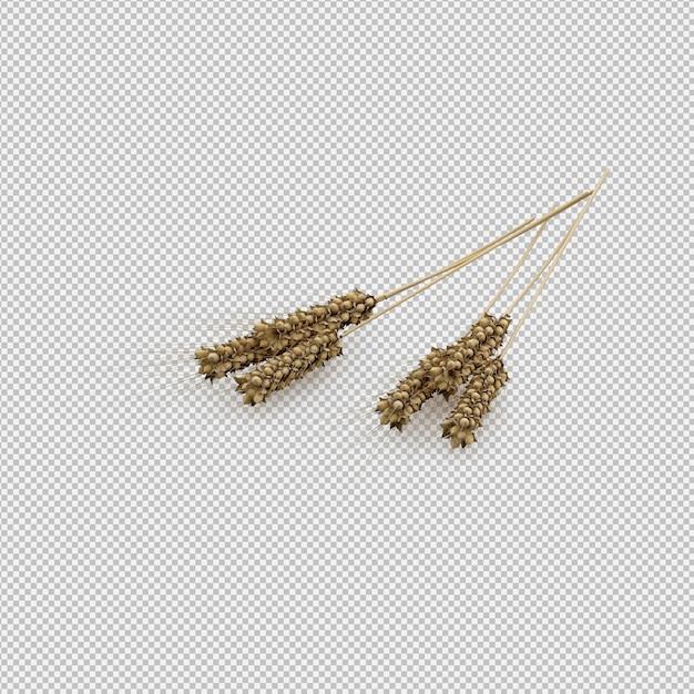 Rendu 3d de blé PSD Premium