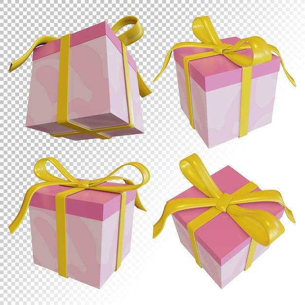 Rendu 3d De Boîte-cadeau Avec Des Liens De Ruban Pour Emballage Cadeau D'anniversaire Isolé PSD Premium