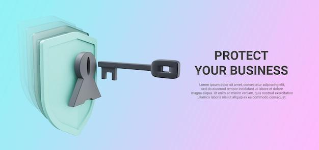 Rendu 3d Du Bouclier Avec Clé Pour La Présentation De L'application De Sécurité PSD Premium