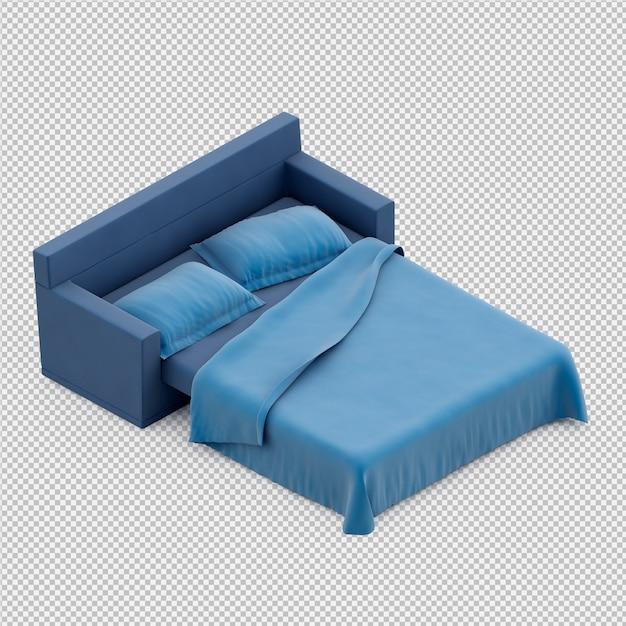 Rendu 3d du lit isométrique PSD Premium