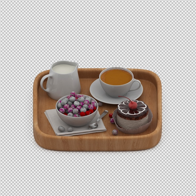 Rendu 3d du petit déjeuner PSD Premium