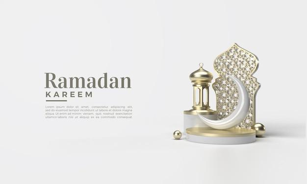 Rendu 3d Du Ramadan Kareem Avec Ornement De Planche Classique PSD Premium