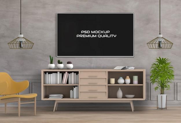 Rendu 3d du salon intérieur avec smart tv PSD Premium
