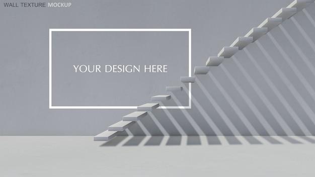 Rendu 3d De L'escalier En Béton Avec Une Ombre Sur Le Mur PSD Premium