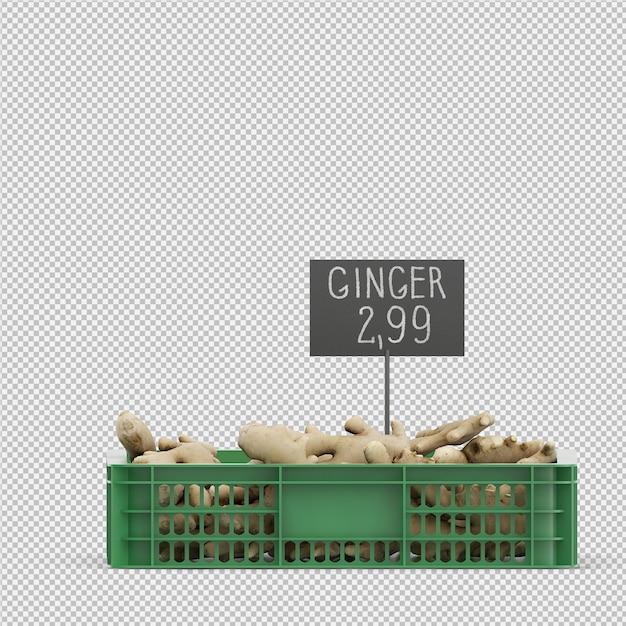 Rendu 3d isométrique de gingembre PSD Premium