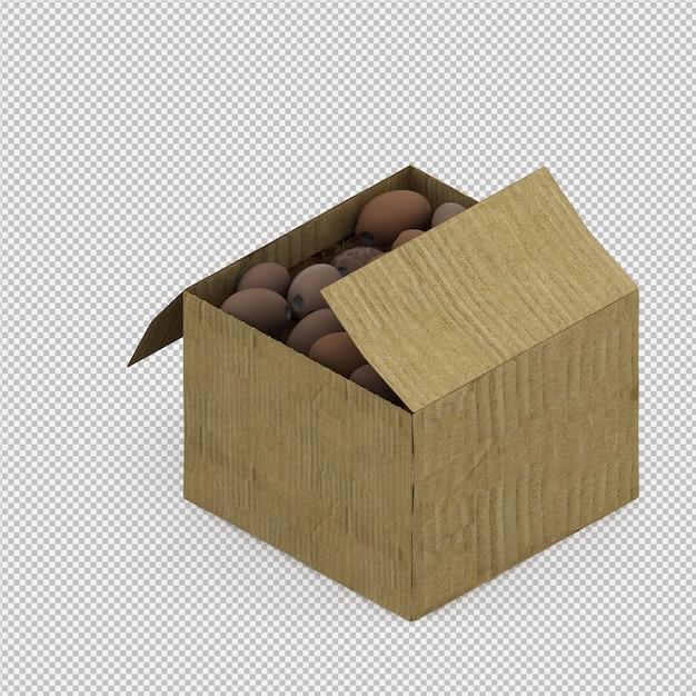Rendu 3d isométrique de noix de coco PSD Premium