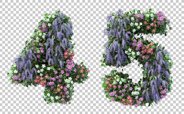 Rendu 3d Jardin Fleuri Numéro 4 Et Numéro 5 Isolé PSD Premium