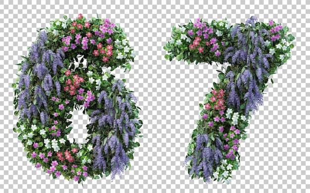 Rendu 3d Jardin Fleuri Numéro 6 Et Numéro 7 Isolé PSD Premium