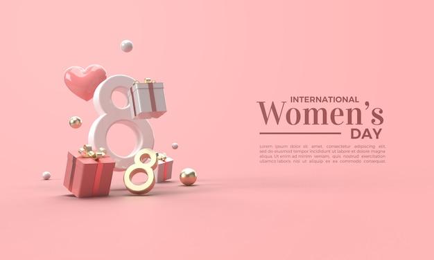 Rendu 3d De La Journée De La Femme En Chiffres Or Et Blancs PSD Premium