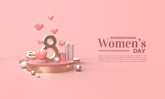 Rendu 3d De La Journée De La Femme Avec Des Nombres D'or Et Plusieurs Coffrets Cadeaux PSD Premium
