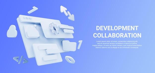 Rendu 3d Des Outils De Développement Web Avec Flèche, Nuage, Dossier Et Couleur Bleue PSD Premium