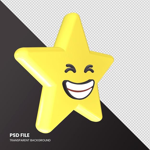Rendu 3d De Star Emoji Grinning Squinting Face Isolé PSD Premium