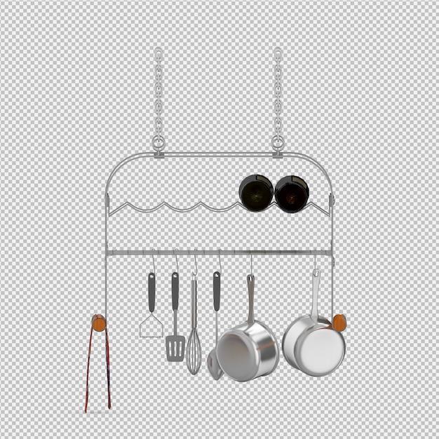 Rendu 3d d'ustensiles de cuisine isométriques PSD Premium