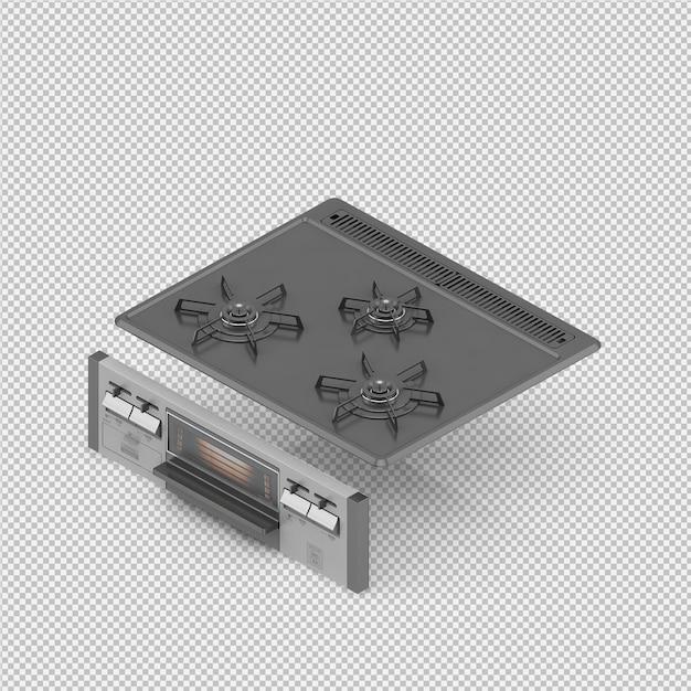 Rendu de cuisine isométrique 3d rendu PSD Premium