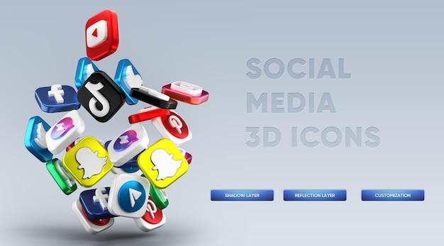 Rendu Réaliste D'icônes De Médias Sociaux 3d PSD Premium