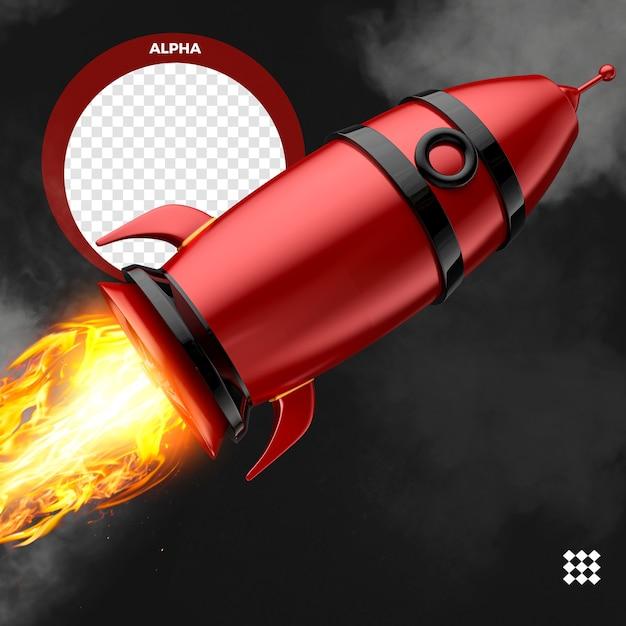 Rendu Rouge Fusée Avec Feu Isolé PSD Premium