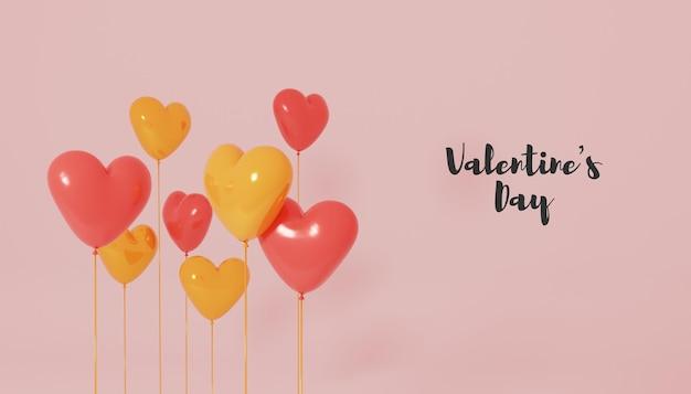 Rendu De La Saint-valentin Avec Ballon Coeur 3d PSD Premium