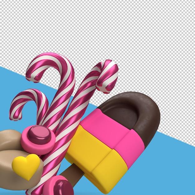 Rendu De La Saint-valentin Avec Des Bonbons PSD Premium