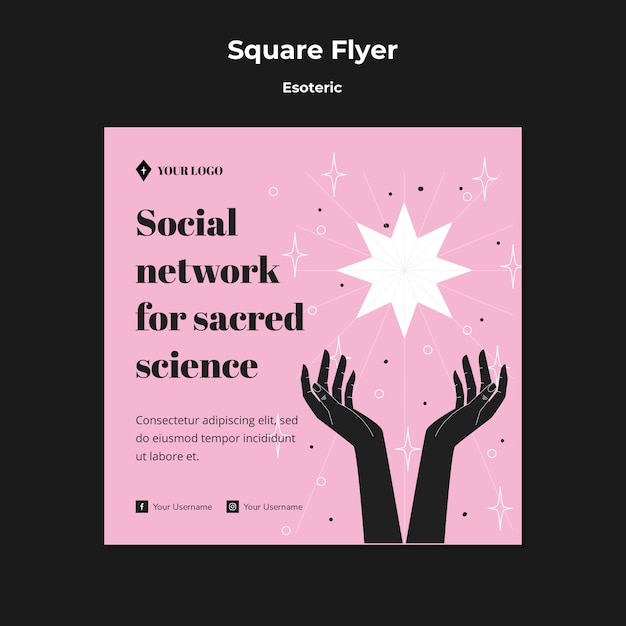 Réseau Social Pour Flyer Carré Science Sacrée Psd gratuit