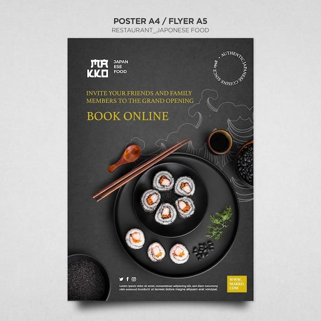 Réservez En Ligne Votre Modèle D'impression D'affiche D'assiette à Sushi Psd gratuit