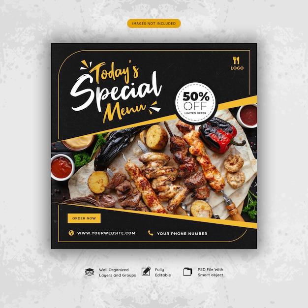 Restaurant de médias sociaux post psd PSD Premium