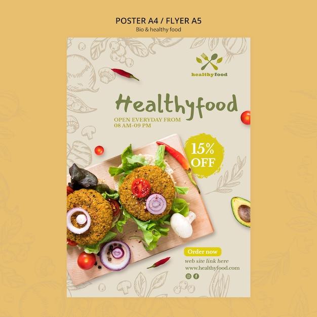 Restaurant Avec Modèle D'affiche De Nourriture Saine Psd gratuit