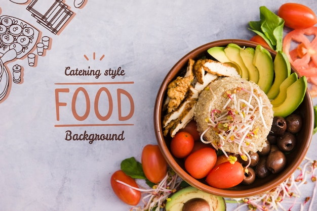 Restauration Fond Alimentaire Avec Espace De Copie Psd gratuit