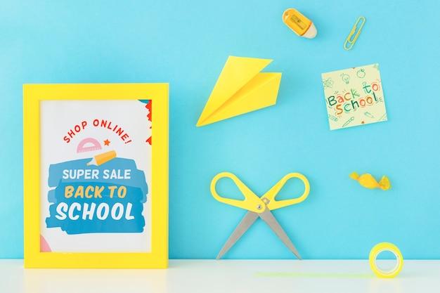 Retour à la conception de bannière super vente école Psd gratuit