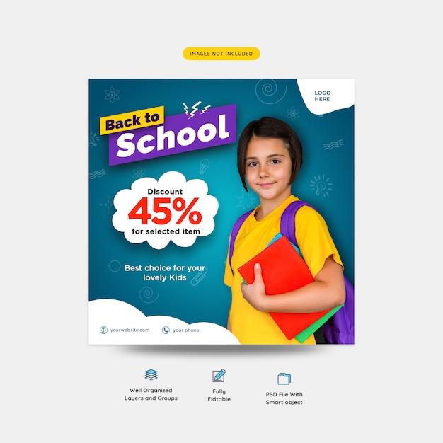 Retour à l'école avec offre de réduction sur les médias sociaux PSD Premium